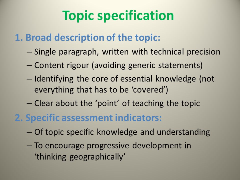 Topic specification 1.