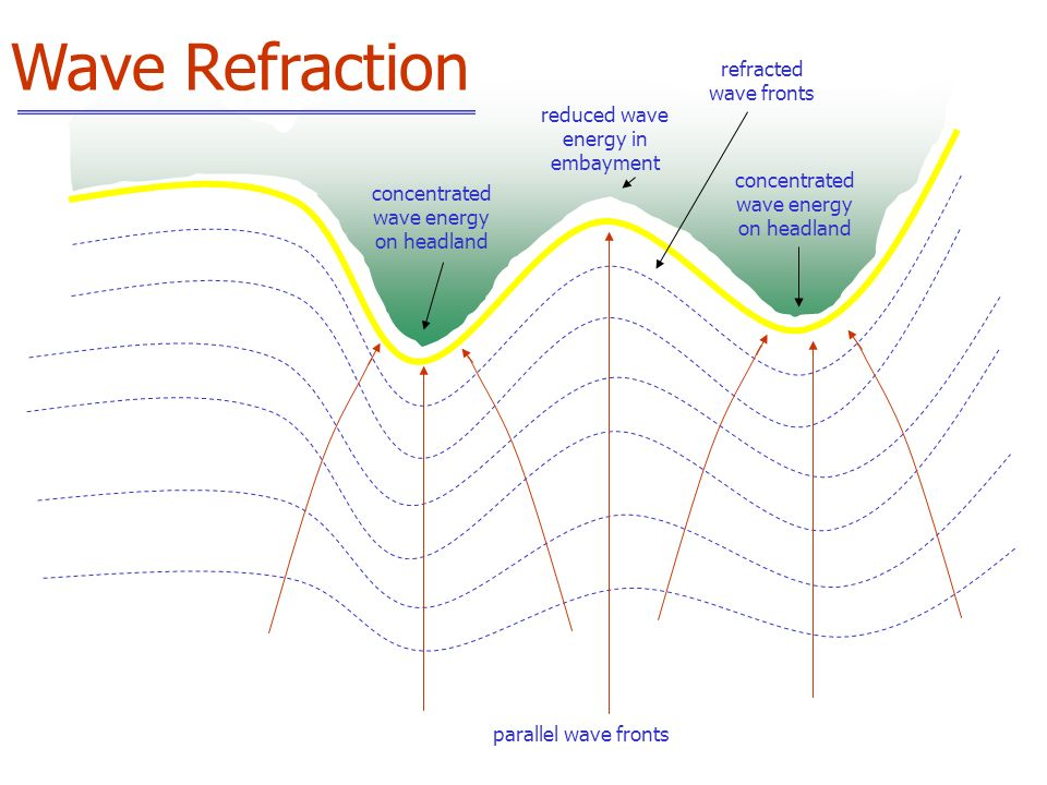 parallel wave fronts concentrated wave energy on headland reduced wave energy in embayment refracted wave fronts Wave Refraction