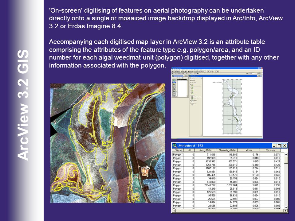 ArcView 3.2 GIS 'On-screen' digitising of features on aerial photography can be undertaken directly onto a single or mosaiced image backdrop displayed