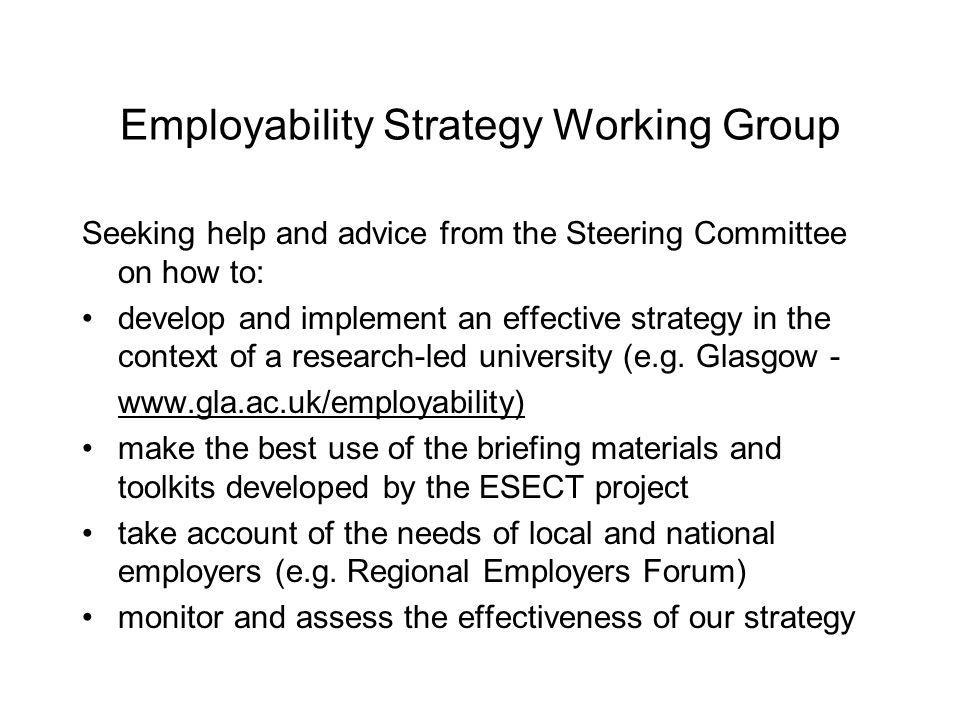 Employability Strategy Working Group Seeking help and advice from the Steering Committee on how to: develop and implement an effective strategy in the context of a research-led university (e.g.
