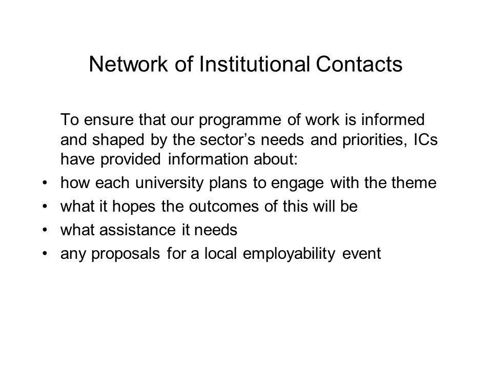 Network of Institutional Contacts To ensure that our programme of work is informed and shaped by the sectors needs and priorities, ICs have provided information about: how each university plans to engage with the theme what it hopes the outcomes of this will be what assistance it needs any proposals for a local employability event