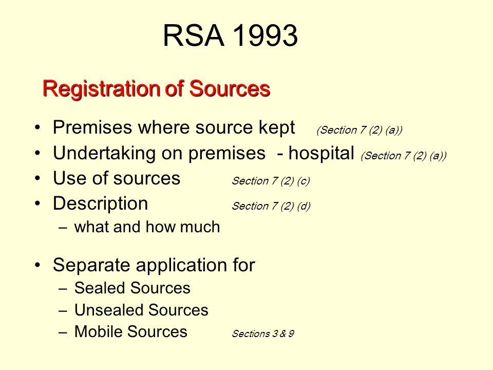 Registration of Sources Premises where source kept (Section 7 (2) (a)) Undertaking on premises - hospital (Section 7 (2) (a)) Use of sources Section 7