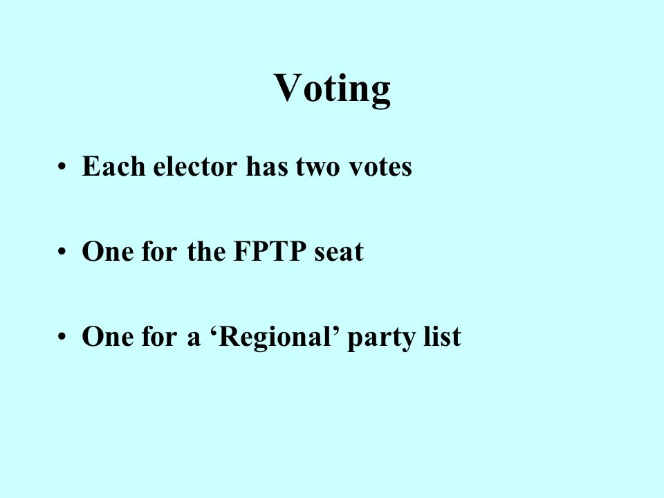 Features of the Scheme 73 FPTP Seats (Westminster Seats pre- 2005, but Orkney and Shetland divided) 8 Regional Constituencies each returning 7 Additional Members
