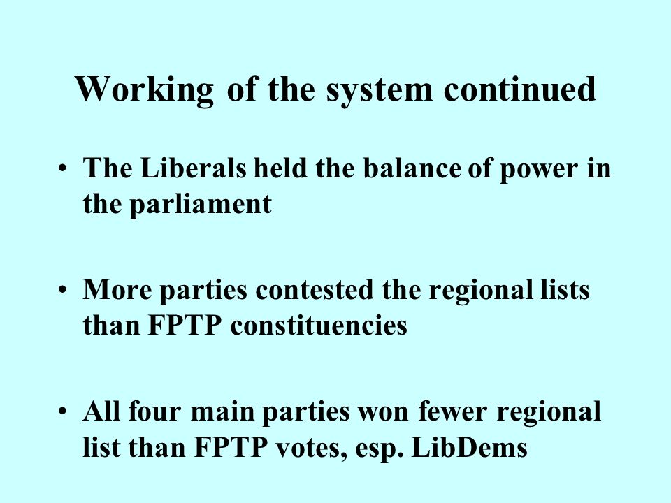 Working of the system continued The way the votes were counted affected the outcome: –Labour would not have won AMs had they been aggregated at national rather than regional level.