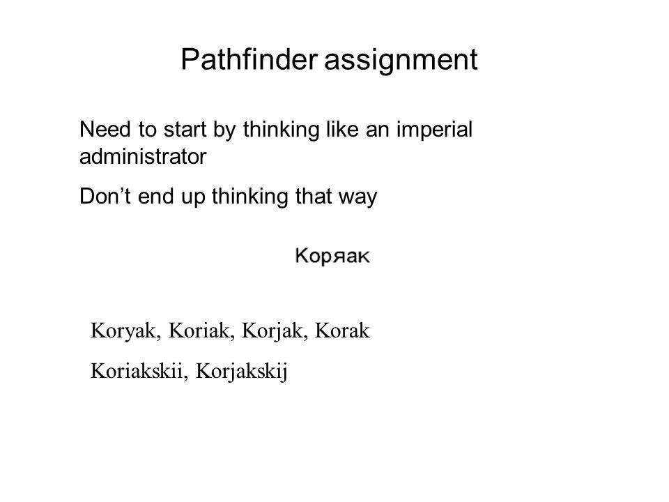 Pathfinder assignment Need to start by thinking like an imperial administrator Dont end up thinking that way Koryak, Koriak, Korjak, Korak Koriakskii, Korjakskij