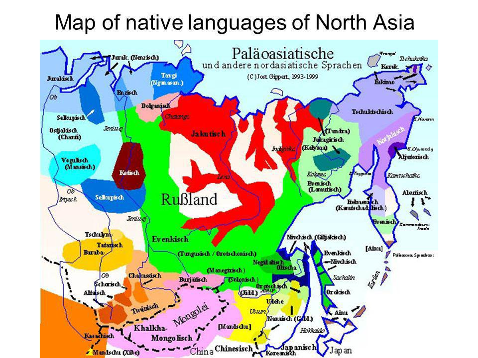Map of native languages of North Asia