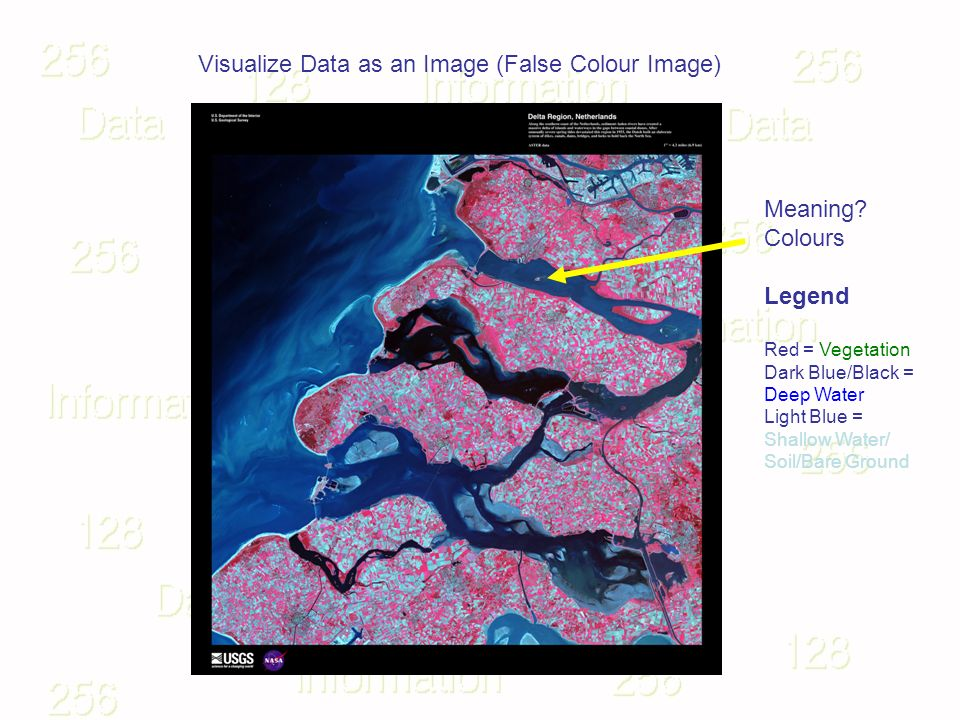 Visualize Data as an Image (False Colour Image) Meaning? Colours Legend Red = Vegetation Dark Blue/Black = Deep Water Light Blue = Shallow Water/ Soil