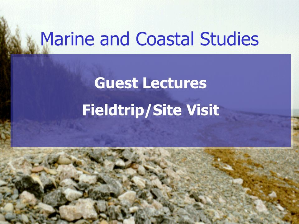Marine and Coastal Studies Guest Lectures Fieldtrip/Site Visit Guest Lectures Fieldtrip/Site Visit
