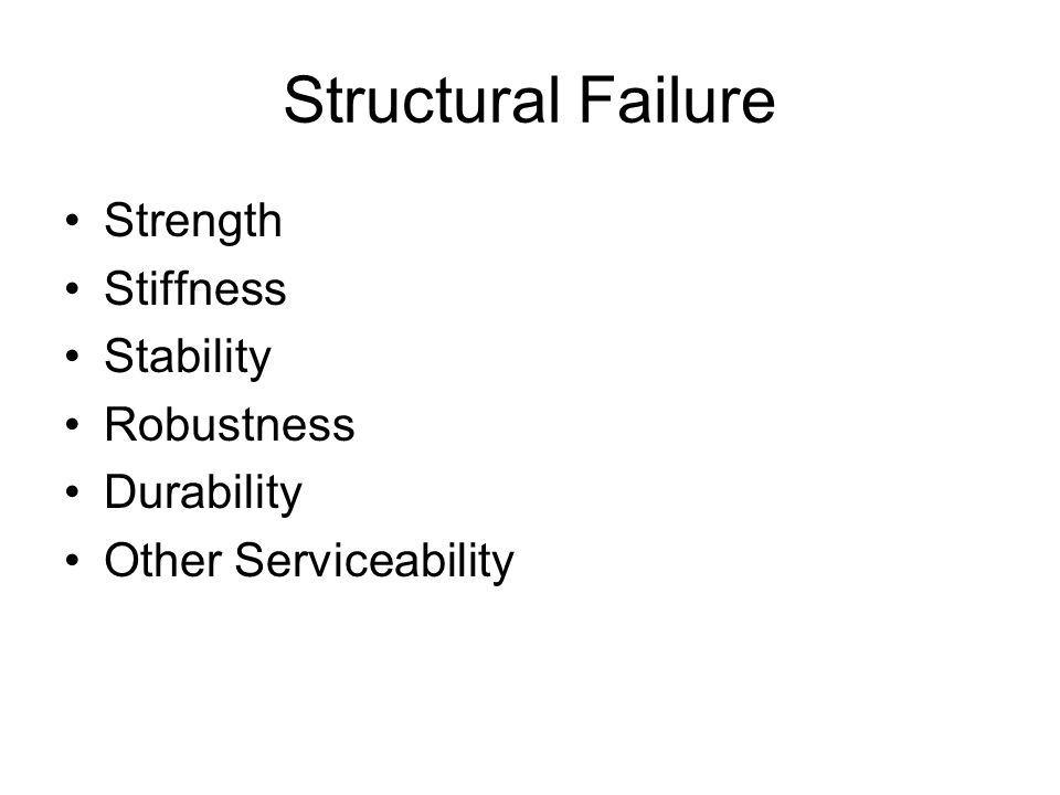 Structural Failure Strength Stiffness Stability Robustness Durability Other Serviceability