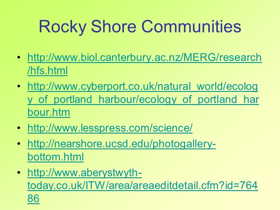 Rocky Shore Communities http://www.biol.canterbury.ac.nz/MERG/research /hfs.htmlhttp://www.biol.canterbury.ac.nz/MERG/research /hfs.html http://www.cy