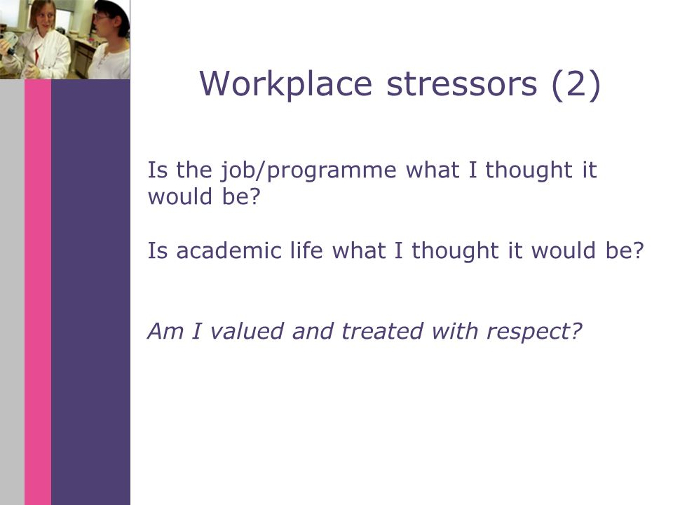 Is the job/programme what I thought it would be. Is academic life what I thought it would be.