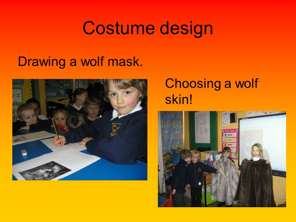 Costume design Drawing a wolf mask. Choosing a wolf skin!