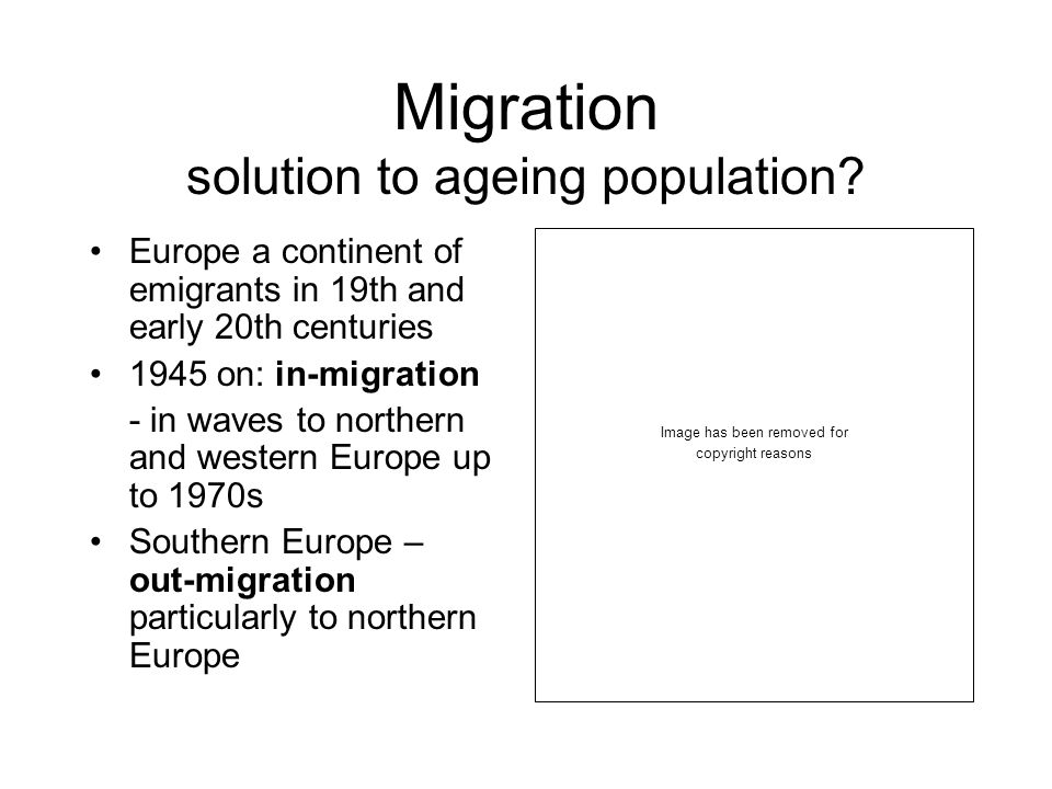 Migration solution to ageing population.