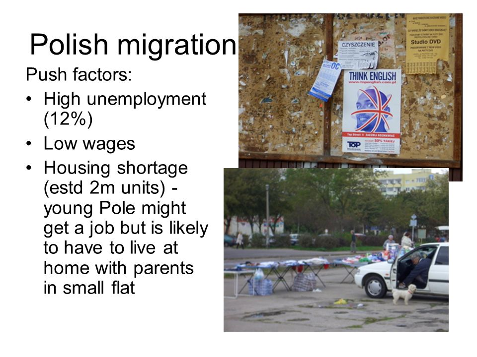 Polish migration Push factors: High unemployment (12%) Low wages Housing shortage (estd 2m units) - young Pole might get a job but is likely to have to live at home with parents in small flat