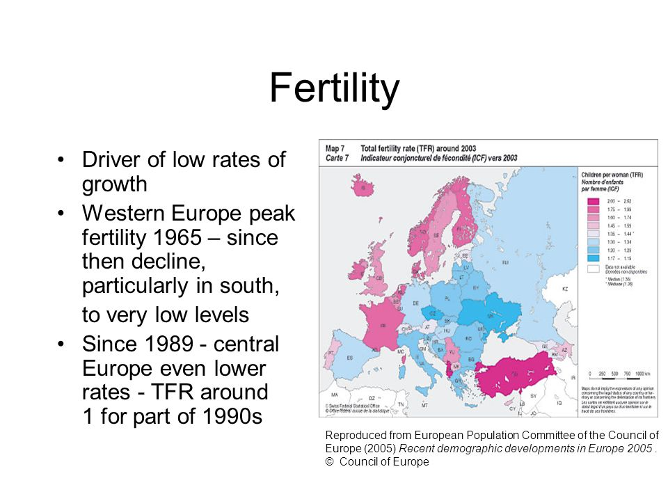 Fertility Driver of low rates of growth Western Europe peak fertility 1965 – since then decline, particularly in south, to very low levels Since 1989 - central Europe even lower rates - TFR around 1 for part of 1990s Reproduced from European Population Committee of the Council of Europe (2005) Recent demographic developments in Europe 2005.