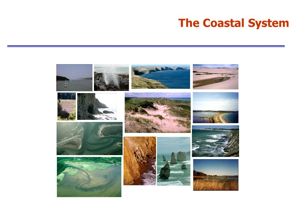 Coasts can be studied in several different ways dependent upon their classification: Erosional or depositional Sediment type (clastic: shingle and sand; or muddy) Submergent or emergent Tectonic setting Process-based: wave dominated, tide dominated and wind dominated - the agents of erosion The Study of Coasts