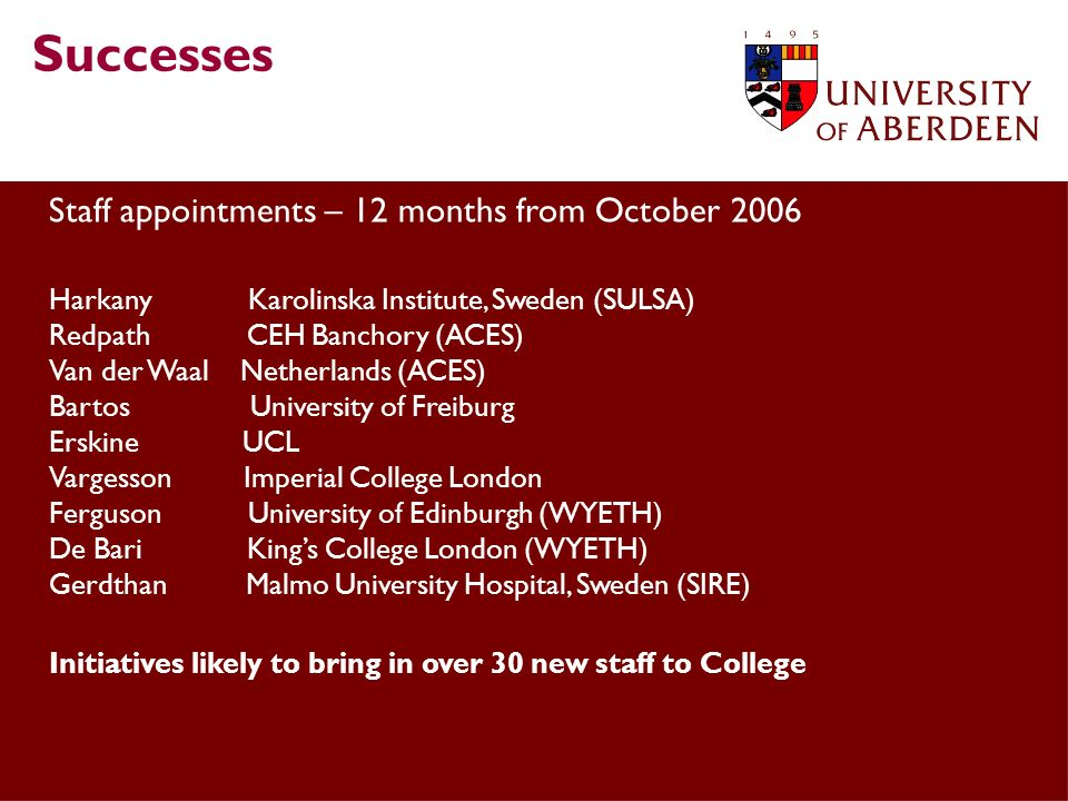Successes Staff appointments – 12 months from October 2006 Harkany Karolinska Institute, Sweden (SULSA) Redpath CEH Banchory (ACES) Van der Waal Netherlands (ACES) Bartos University of Freiburg Erskine UCL Vargesson Imperial College London Ferguson University of Edinburgh (WYETH) De Bari Kings College London (WYETH) Gerdthan Malmo University Hospital, Sweden (SIRE) Initiatives likely to bring in over 30 new staff to College
