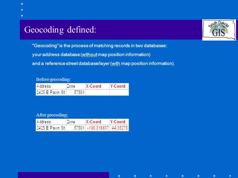 Use the new Geocoding Service: Define geocoding options: Define alias table Set scoring parameters We dont use intersections Define output options Define output attribute options ArcView 8.x