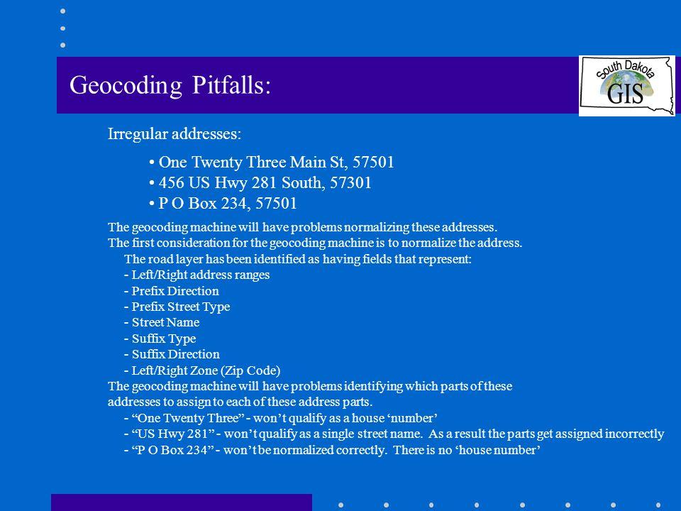 Geocoding Pitfalls: Irregular addresses: One Twenty Three Main St, 57501 456 US Hwy 281 South, 57301 P O Box 234, 57501 The geocoding machine will have problems normalizing these addresses.