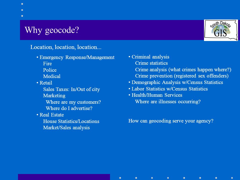 Set up the geocoding environment: In ArcCatalog: Create a new Geocoding Service ArcView 8.x