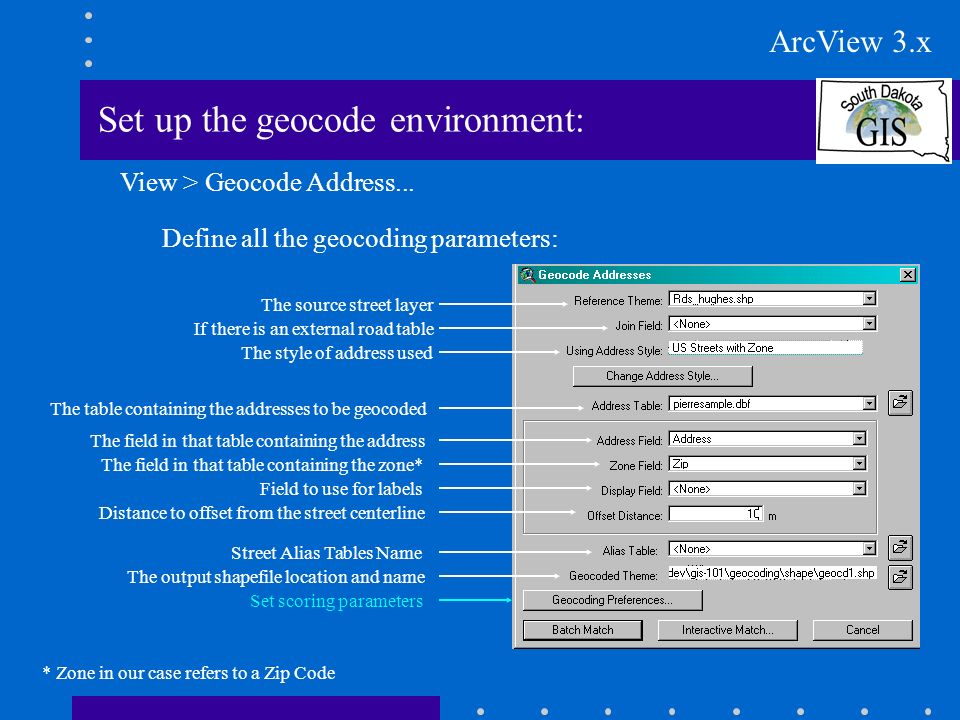 Set up the geocode environment: Define all the scoring parameters: Launch the geocoder ArcView 3.x