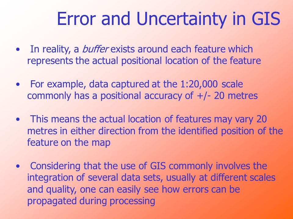 Error and Uncertainty in GIS In reality, a buffer exists around each feature which represents the actual positional location of the feature For exampl