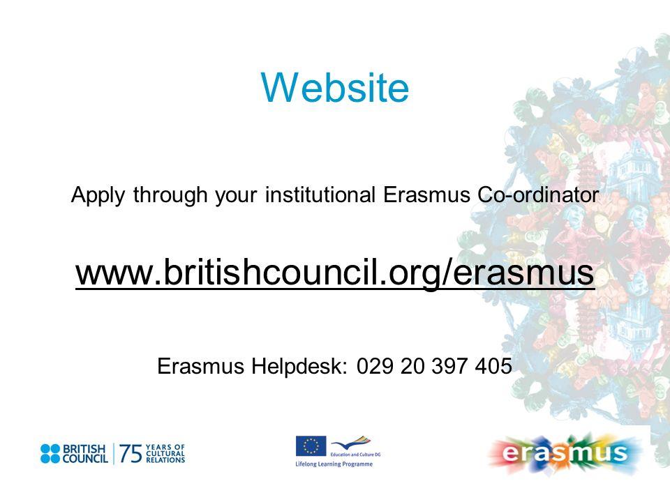 Website Apply through your institutional Erasmus Co-ordinator www.britishcouncil.org/erasmus Erasmus Helpdesk: 029 20 397 405