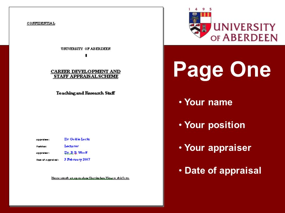Page One Your name Your position Your appraiser Date of appraisal