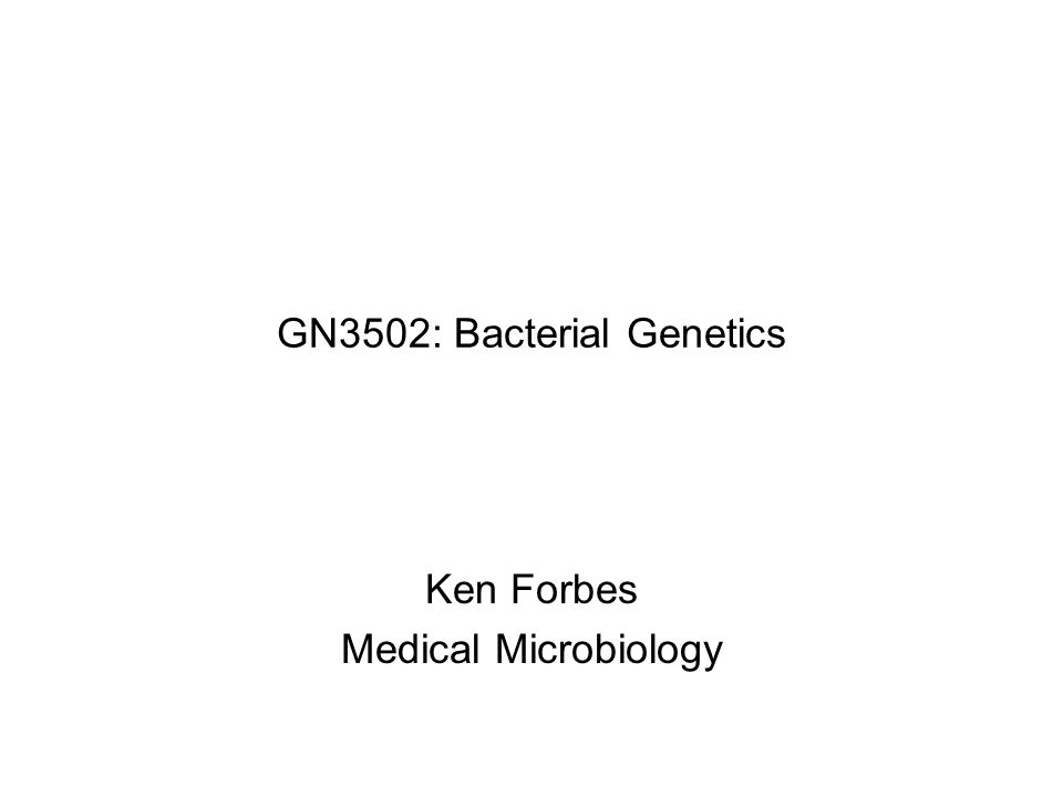 GN3502: Bacterial Genetics Ken Forbes Medical Microbiology