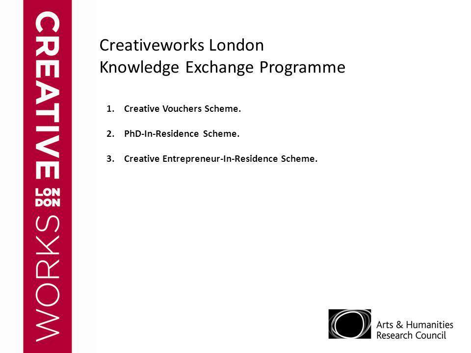 Creativeworks London Knowledge Exchange Programme 1.Creative Vouchers Scheme. 2.PhD-In-Residence Scheme. 3.Creative Entrepreneur-In-Residence Scheme.