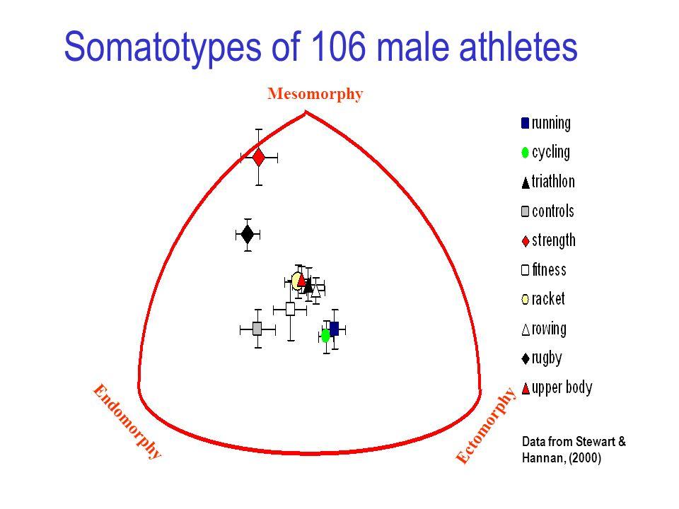 Endomorphy Ectomorphy Mesomorphy Data from Stewart & Hannan, (2000) Somatotypes of 106 male athletes