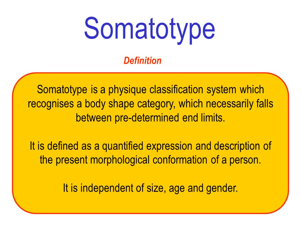 Definition Somatotype is a physique classification system which recognises a body shape category, which necessarily falls between pre-determined end l
