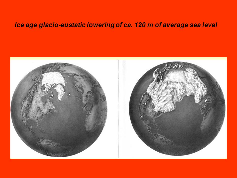Ice age glacio-eustatic lowering of ca. 120 m of average sea level