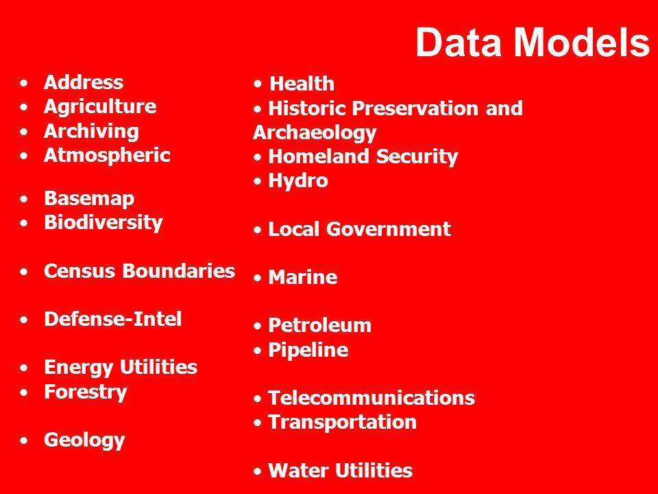 Data Models Address Agriculture Archiving Atmospheric Basemap Biodiversity Census Boundaries Defense-Intel Energy Utilities Forestry Geology Health Hi