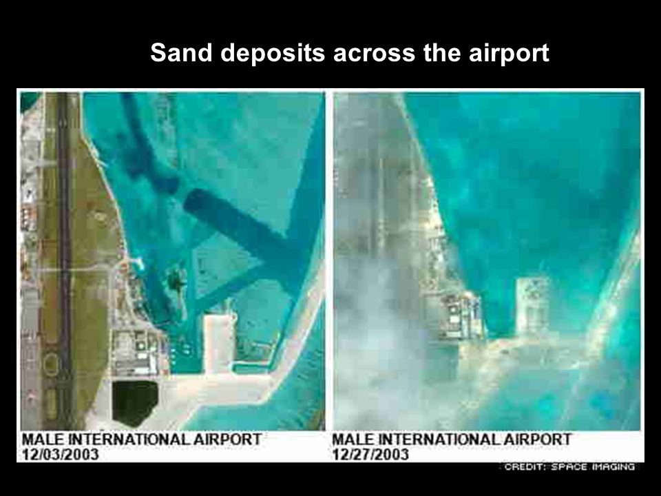 Sand deposits across the airport