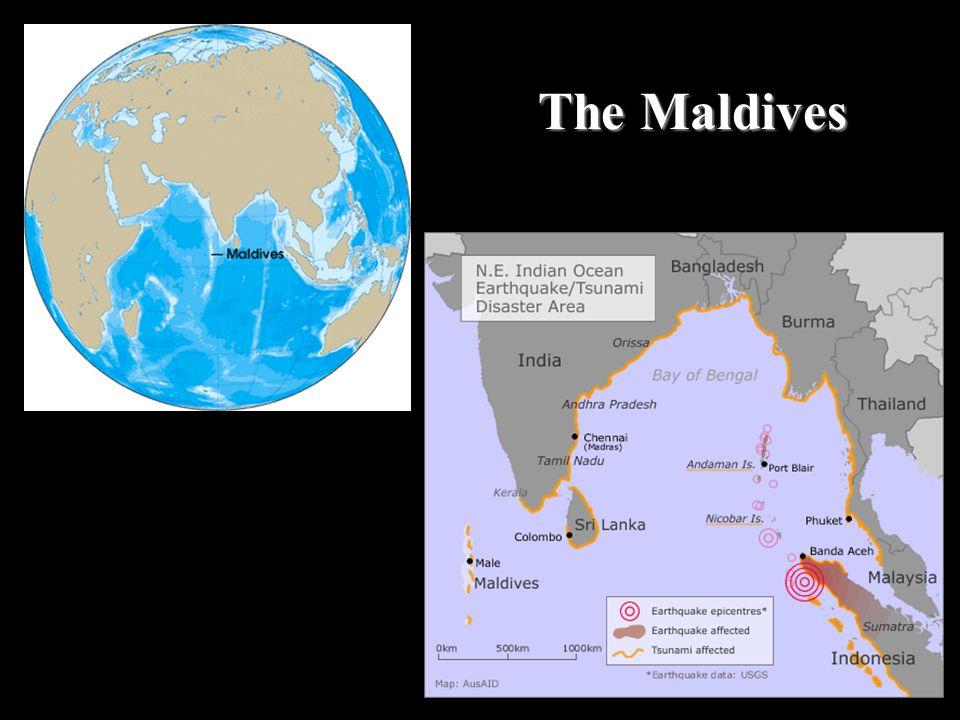 Satellite photo of the Atolls making up the Maldives
