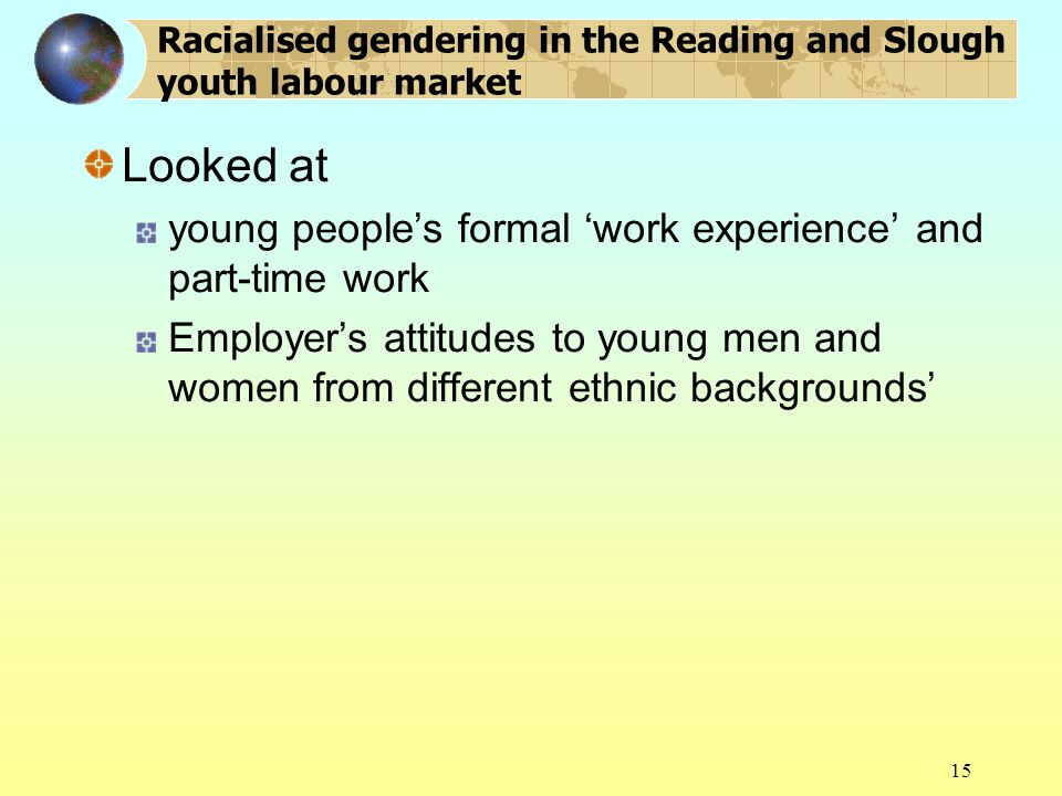 15 Racialised gendering in the Reading and Slough youth labour market Looked at young peoples formal work experience and part-time work Employers attitudes to young men and women from different ethnic backgrounds