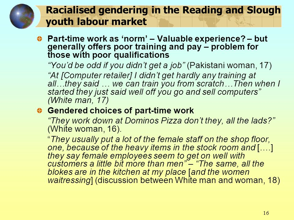 16 Racialised gendering in the Reading and Slough youth labour market Part-time work as norm – Valuable experience.