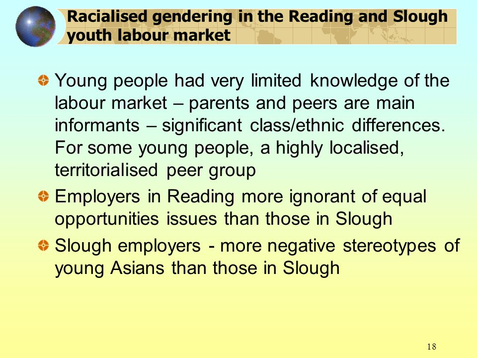 18 Racialised gendering in the Reading and Slough youth labour market Young people had very limited knowledge of the labour market – parents and peers