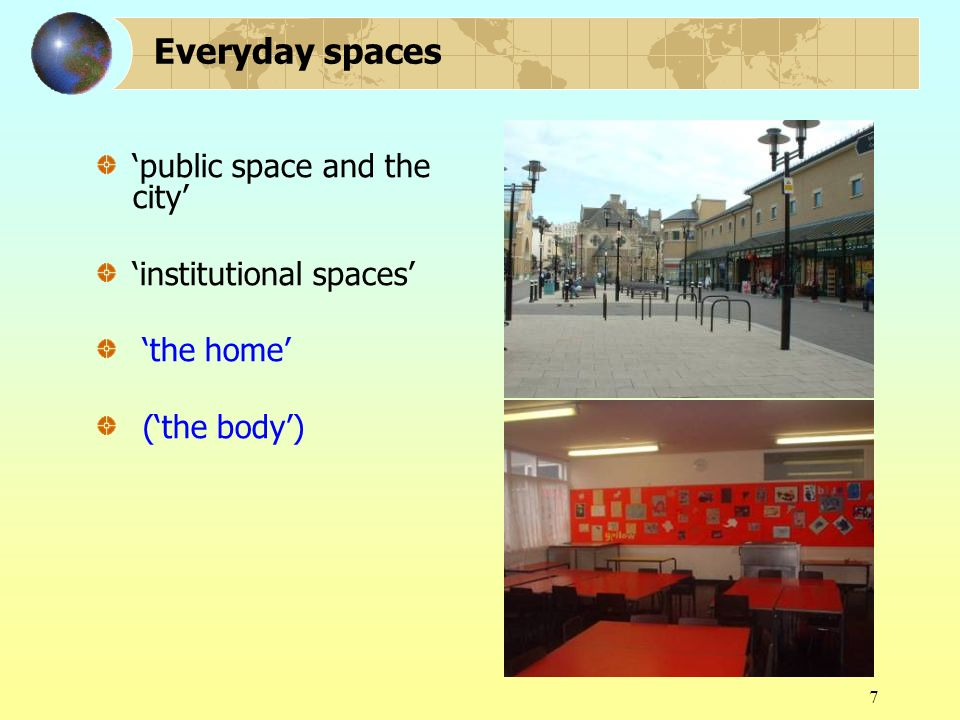 7 Everyday spaces public space and the city institutional spaces the home (the body)