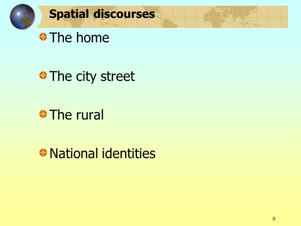 9 Spatial discourses The home The city street The rural National identities
