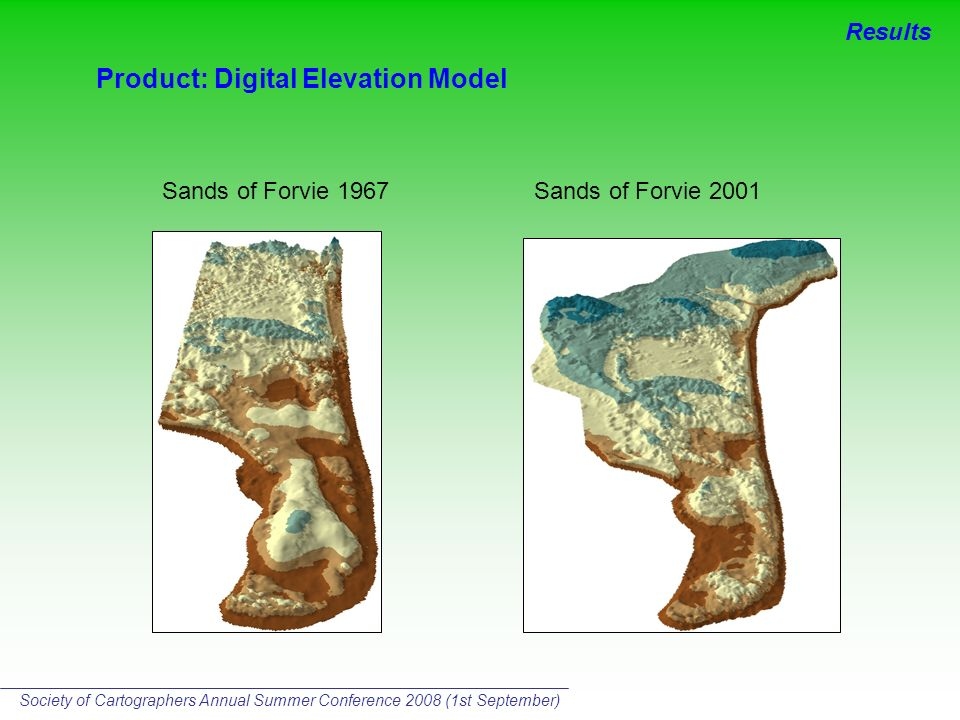 Product: Digital Elevation Model Sands of Forvie 2001Sands of Forvie 1967 Results Society of Cartographers Annual Summer Conference 2008 (1st September)