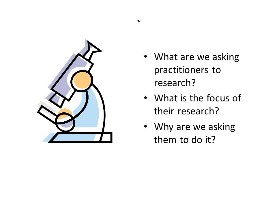 ` What are we asking practitioners to research. What is the focus of their research.