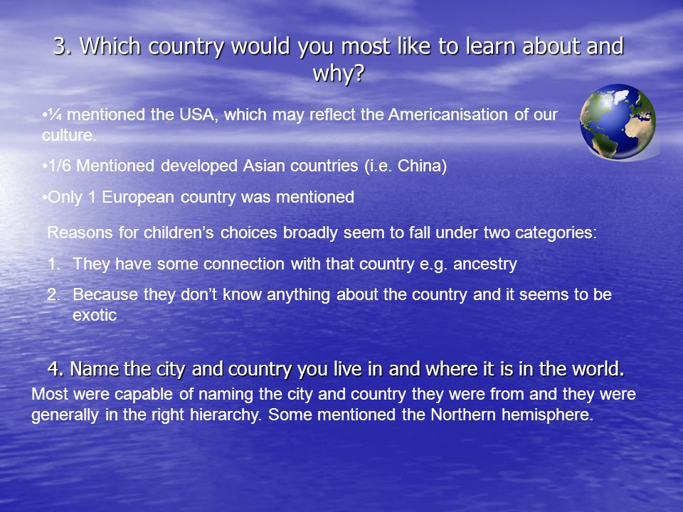 3. Which country would you most like to learn about and why? 4. Name the city and country you live in and where it is in the world. Reasons for childr