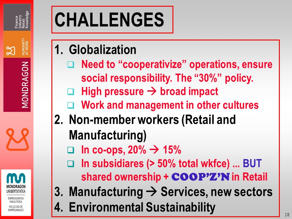 18 CHALLENGES 1.Globalization Need to cooperativize operations, ensure social responsibility.