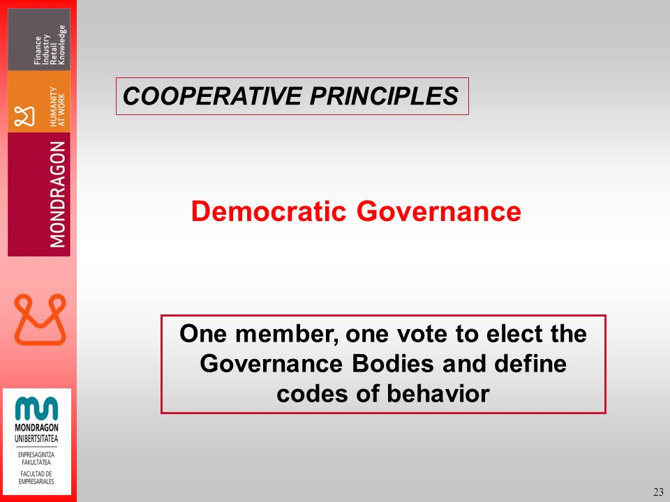 23 Democratic Governance One member, one vote to elect the Governance Bodies and define codes of behavior COOPERATIVE PRINCIPLES