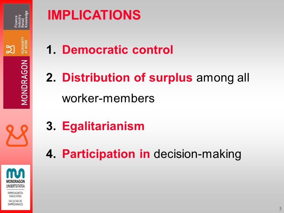 5 IMPLICATIONS 1.Democratic control 2.Distribution of surplus among all worker-members 3.Egalitarianism 4.Participation in decision-making
