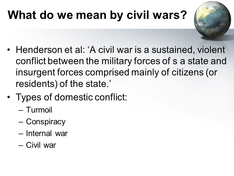 What do we mean by civil wars.
