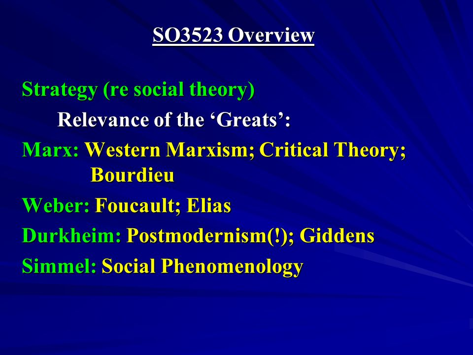 SO3523 Overview Strategy (re social theory) Relevance of the Greats: Marx: Western Marxism; Critical Theory; Bourdieu Weber: Foucault; Elias Durkheim: Postmodernism(!); Giddens Simmel: Social Phenomenology