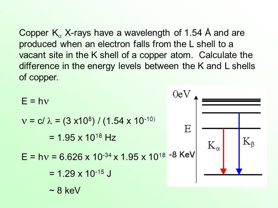 Copper K X-rays have a wavelength of 1.54 Å and are produced when an electron falls from the L shell to a vacant site in the K shell of a copper atom.
